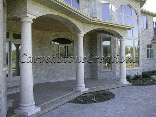 Accenting your home with natural stone columns carved for Decorative exterior columns for house