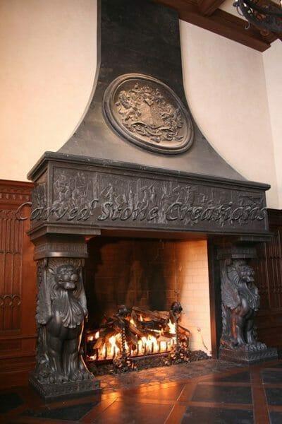 Stone fireplace design custom carved