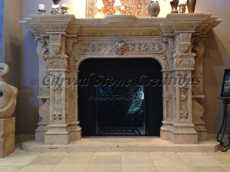 Travertine Stone Fireplace Designs : Intricate stone fireplace designs carved creations