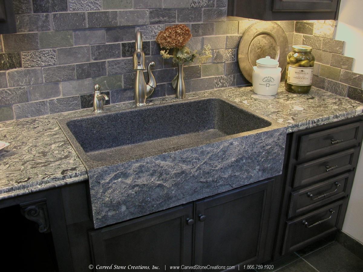 ... Charcoal Granite Rockface Apron Farmhouse Sink 2 ...