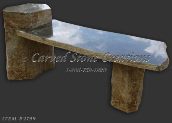 Raised End Basalt Garden Bench, 4-FT