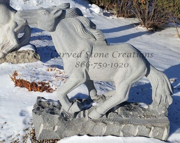 "Carved Granite Running Horse Statuary, H39"" x L39"". Charcoal Grey Granite."