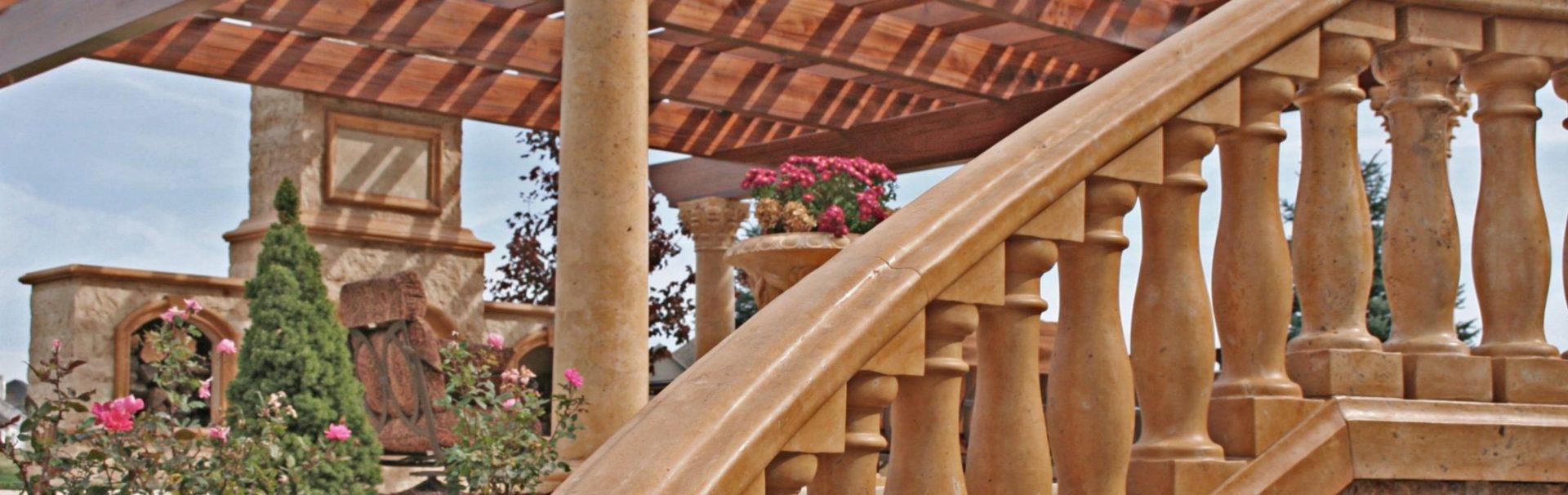 handcarved stone balustrades