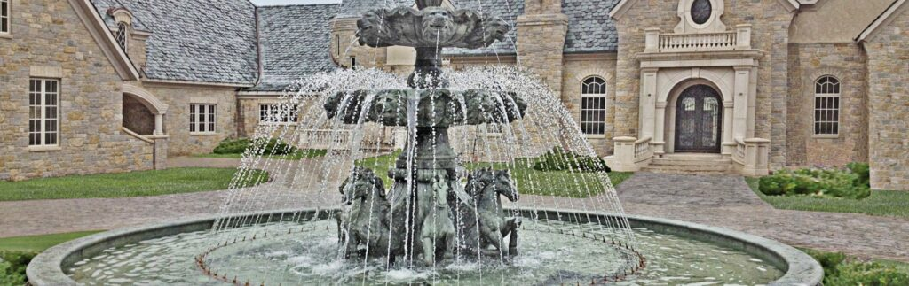 classic style stone fountain with spray ring
