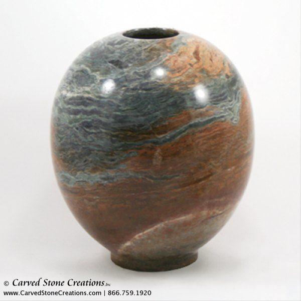 Short Globe / Cone Shape Polished Multi-Marble Vase