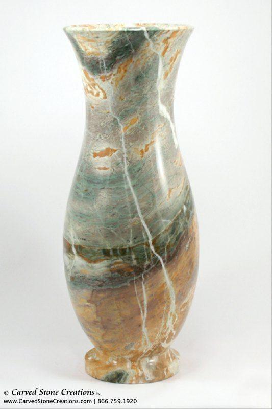 Medium Urn Shape Polished Multi Marble Vase Carved Stone Creations