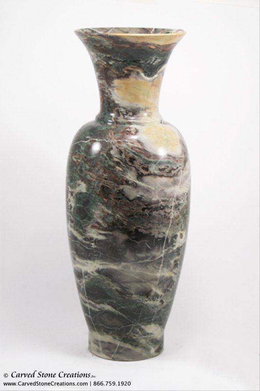 "H19""-20"" Tall Urn Shape Polished Multi-Marble Vase"