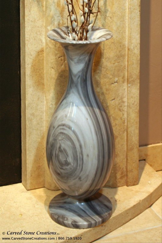 "H21"" - H22"" Tall Urn Shape Polished Multi-Marble Vase"