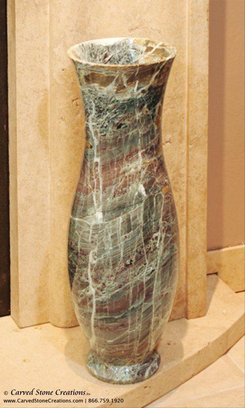 "H23"" - H24"" Tall Urn Shape Polished Multi-Marble Vase"