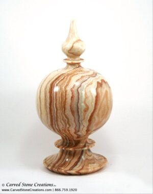 "H12"" x D7"" Polished Multi-Marble Urn with Cap"