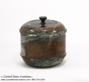 "H5"" x D6"" Polished Multi-Marble Short Urn w/ Cap"