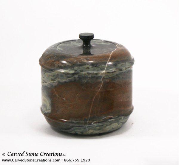 "H5"" x D6"" Polished Multi-Marble Short Urn w/ Cap"