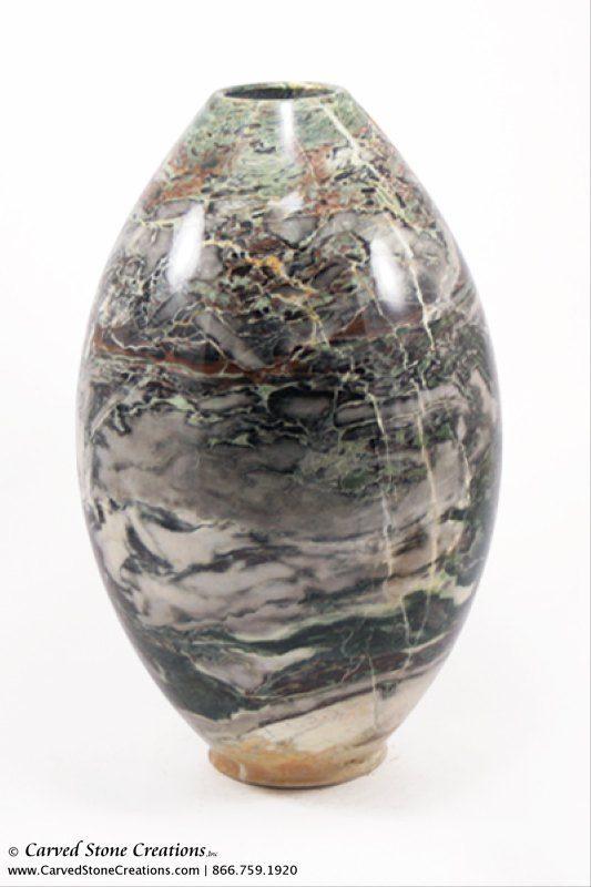 """H13""""-14"""" Short Globe / Cone Shape Polished Multi-Marble Vase"""