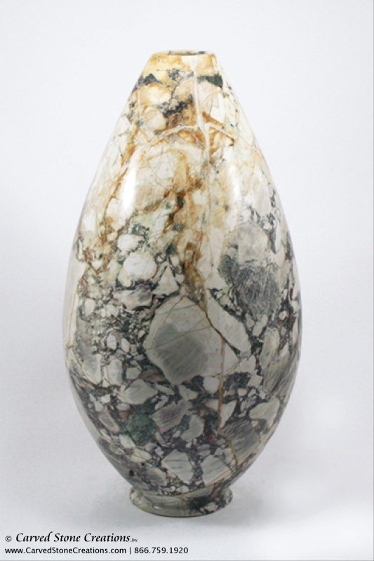 "H17""-18"" Medium Globe / Cone Shape Polished Multi-Marble Vase"