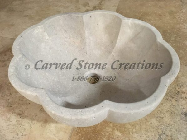 Scalloped Travertine Vessel Sink