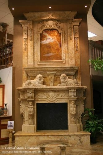 2 story overmantle fireplace