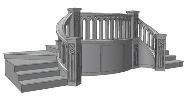 The full staircase modeled in 3D