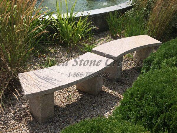 Curved Granite Garden Benches - Giallo Fantasia