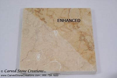Honed Isis Gold Limestone with Enhancer Applied