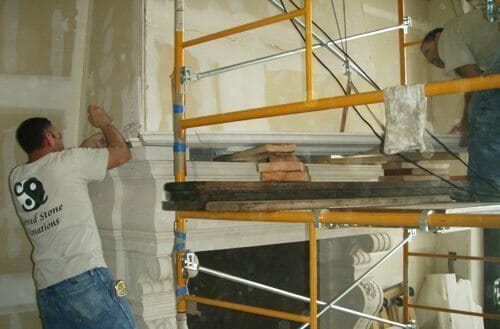 Natural Stone Fireplace Installation Stone Fireplace Installation 14