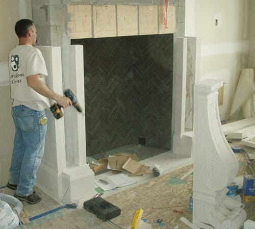 Natural Stone Fireplace Installation Stone Fireplace Installation 6