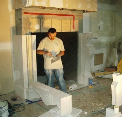 Natural Stone Fireplace Installation Stone Fireplace Installation 7 J