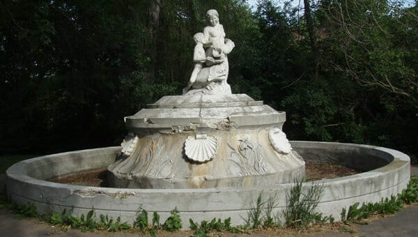 While much older, this fountain showed significant damage. The owner is considering a natural stone reproduction.