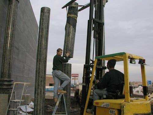 Exterior Stone Column Installation 4