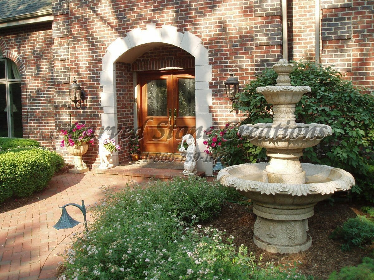 Granite Tiered Garden Fountain with Carved Acanthus Detailing