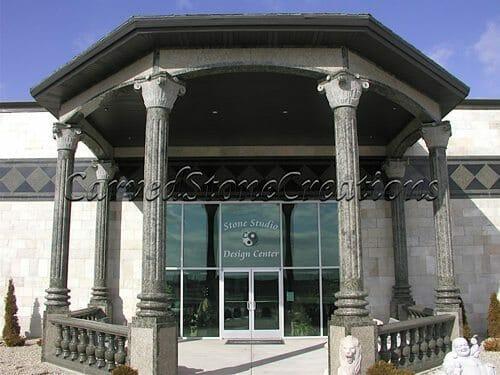 Exterior Stone Column Installation 1