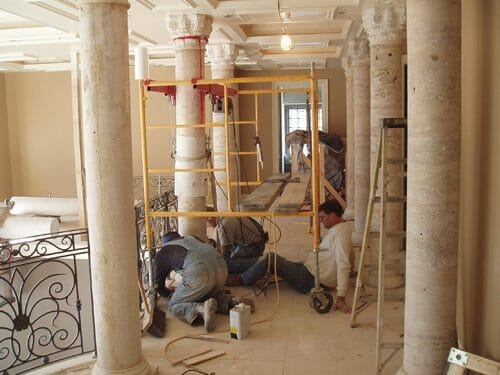 Interior Stone Column Installation 1