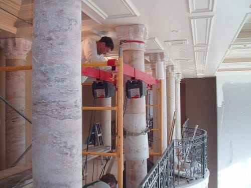 Interior Stone Column Installation 2