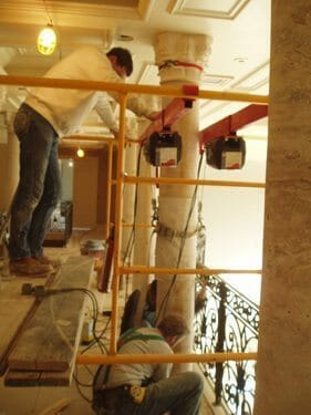 Interior Stone Column Installation 3