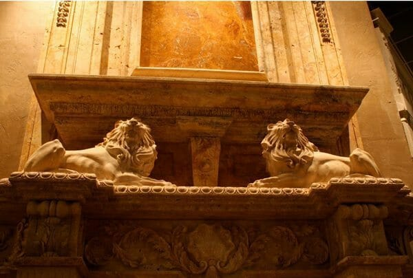 overmantle fireplace carved lions