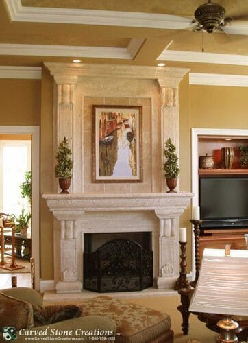 stone fireplace overmantle with artwork