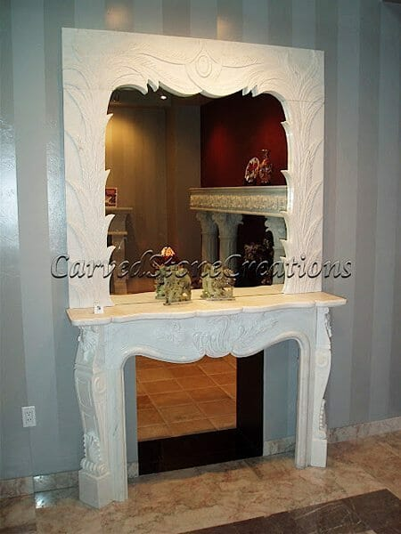 stone fireplace overmantle with mirror