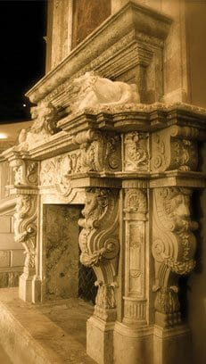 Stone Lion Fireplace - Carved Travertine Fireplace