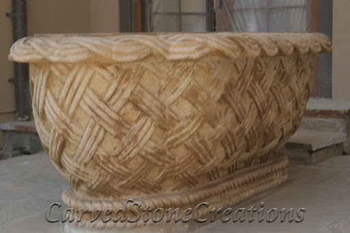 Handcarved stone bathtub