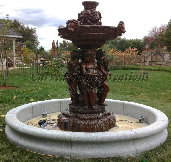 10' Round Contour Fountain Pool Surround, Bianco Catalina