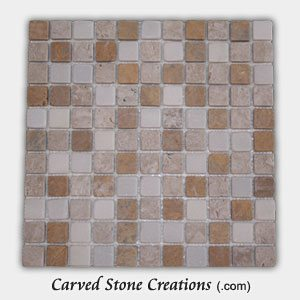 Mixed Travertine/Marble 3/4 Tumbled Mosaic Tiles