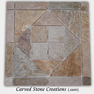 Serengeti Gold Quartzite Triangle/Square Pattern Mosaic