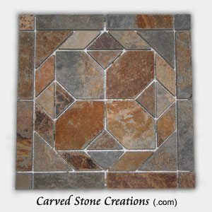 12×12 Golden Multi-Color Slate Polygon Pattern Mosaic Tile