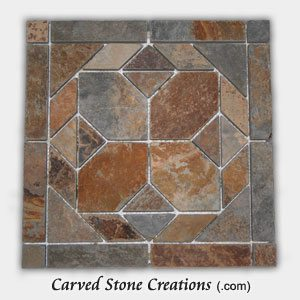 12 215 12 Golden Multi Color Slate Polygon Pattern Mosaic Tile Carved Stone Creations