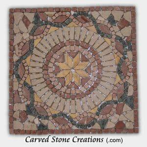 Mixed Marble Sunburst Rope Pattern Mosaic