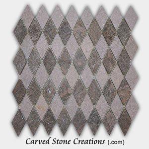 Stella Verde/White Quartzite Diamond Pattern Mosaic