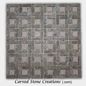 Stella Verde/White Tumbled Quartzite Pinwheel Mosaic