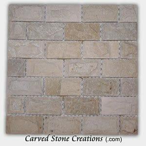 Tahitian Pearl Rock Faced Quartzite Brick Mosaic