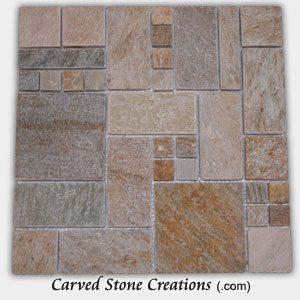 Serengeti Gold Quartzite Random Squares Mosaic Pattern