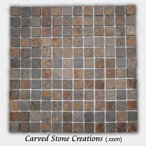 1×1 Golden Multi-Color Slate Classic Squares Mosaic