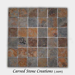 2×2 Golden Multi-Color Slate Classic Squares Mosaic